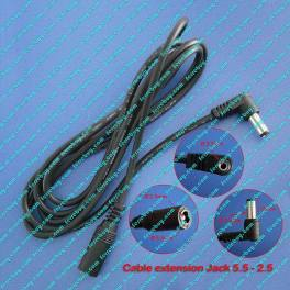 Power cable DCJACK extension male angled to female 1.50m